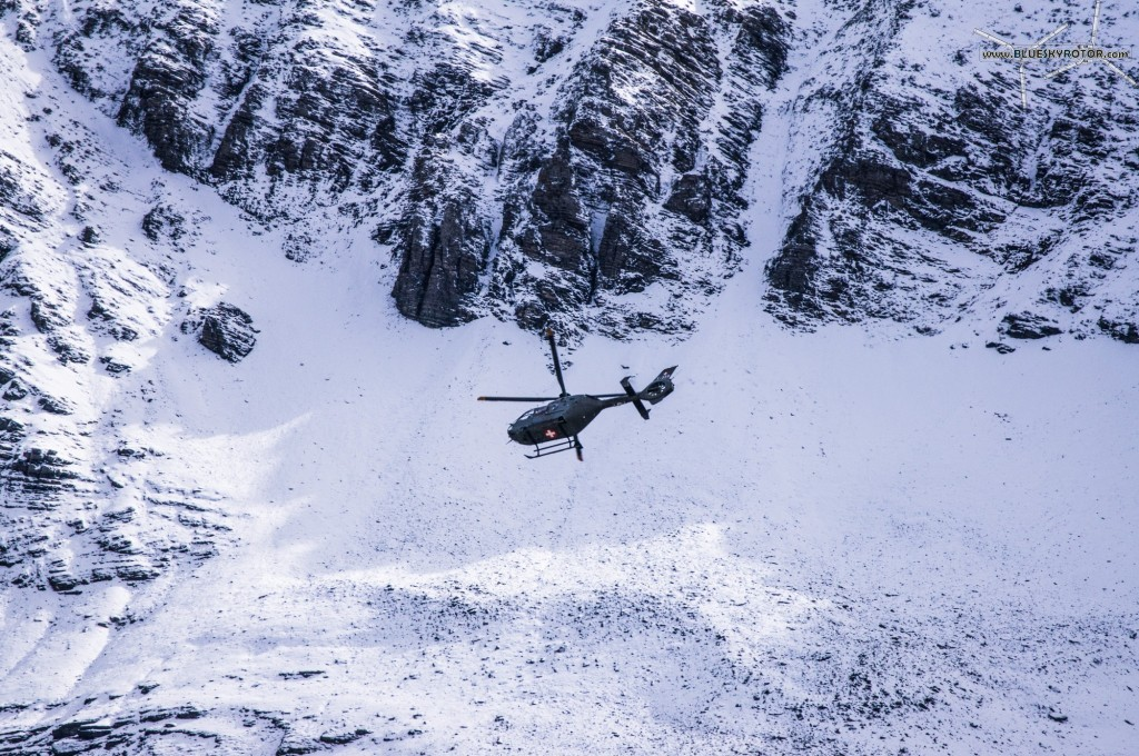 EC635 on transport and surveillance mission at Axalp Fliegerschiessen 2012