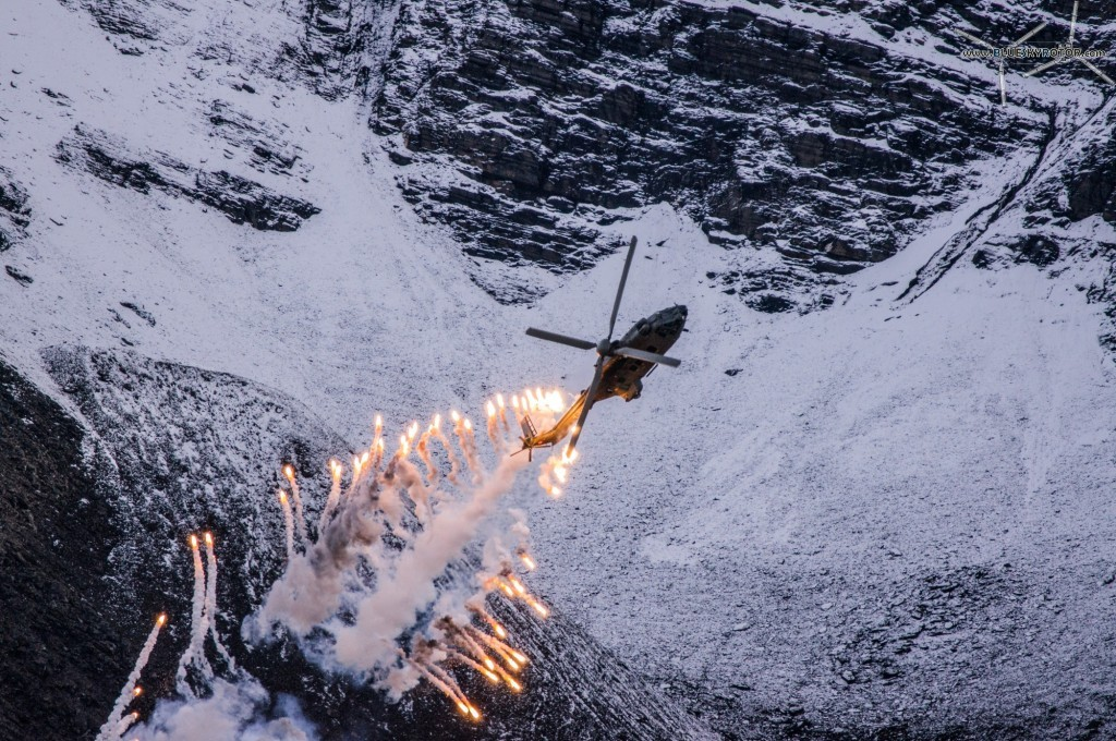 Cougar AS532 UL launching flares at Axalp 2012
