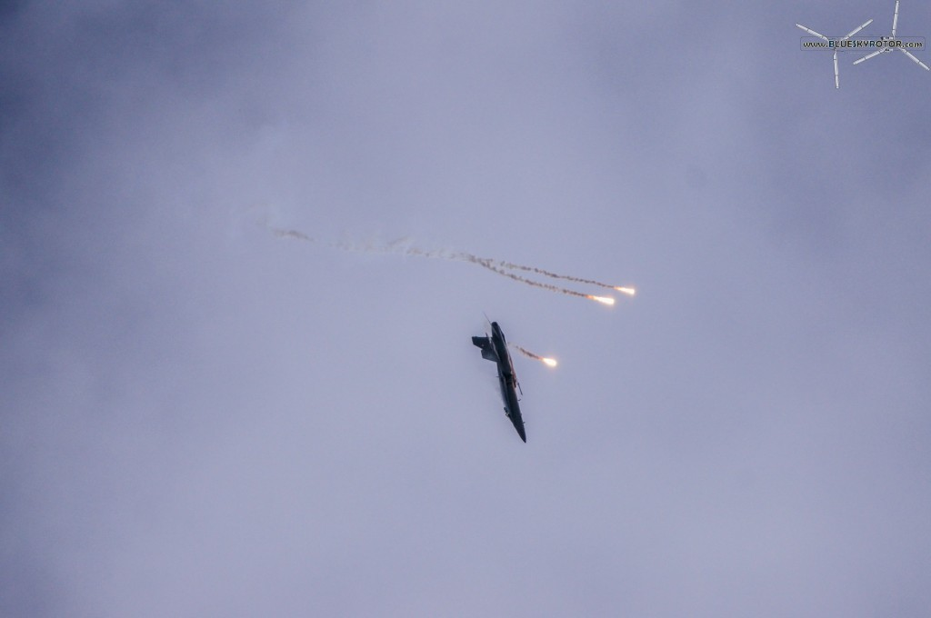 F/A-18C flight display launching flares
