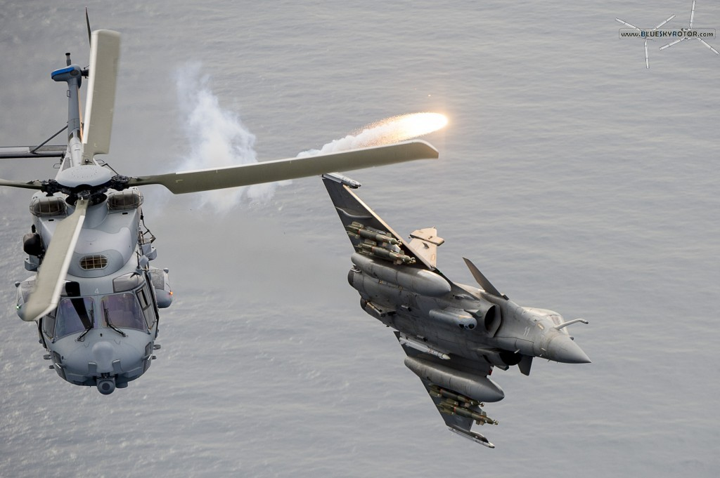 NH90 and Rafale, releasing flare