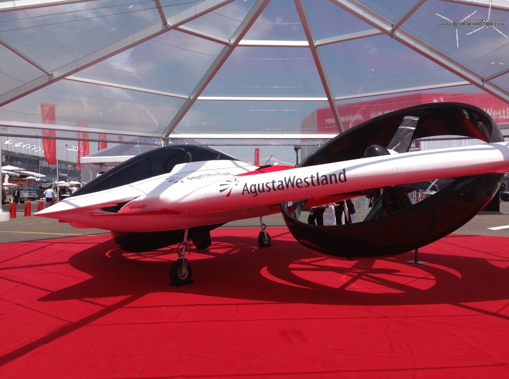 Side view of the AgustaWestland's Project Zero under dome at Paris Air Show 2013