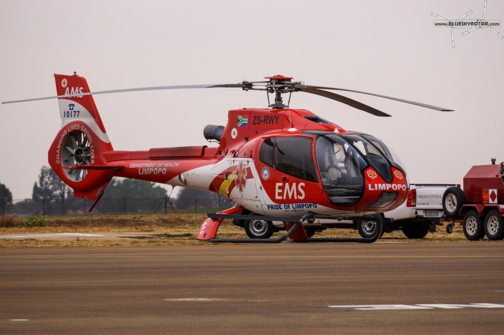 EC130 mercy helicopter at FAGC airport, Gauteng province, South Africa