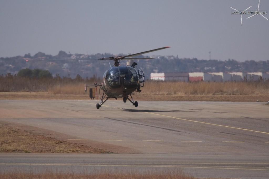 Alouette III landing on taxiway