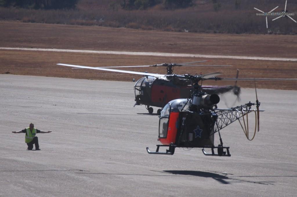 Alouette II landing on parking