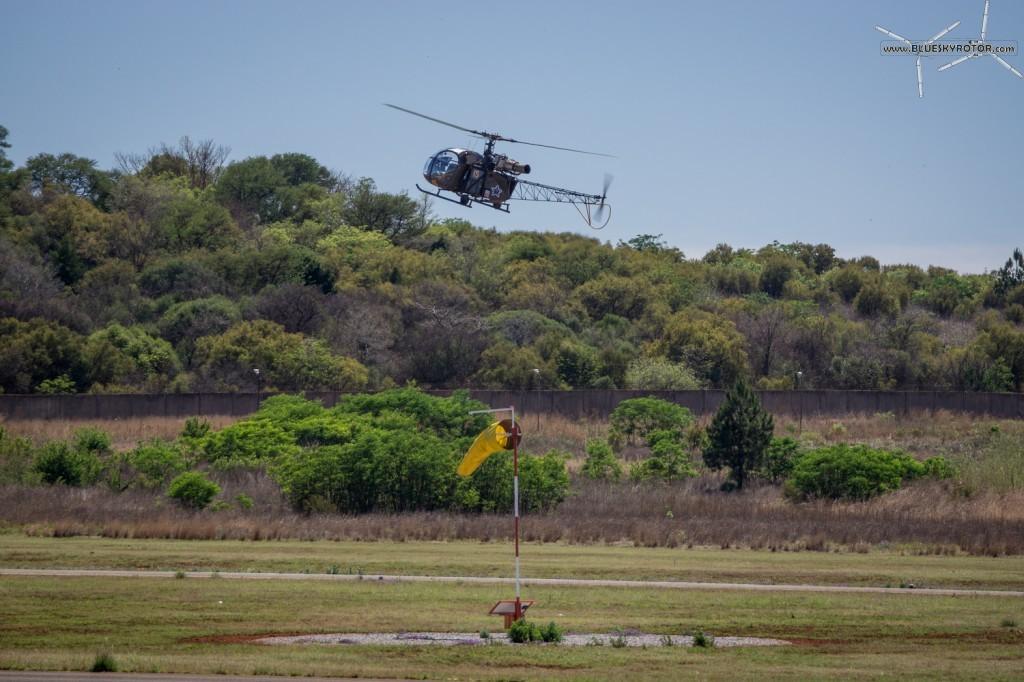 Alouette II on training flight backwards