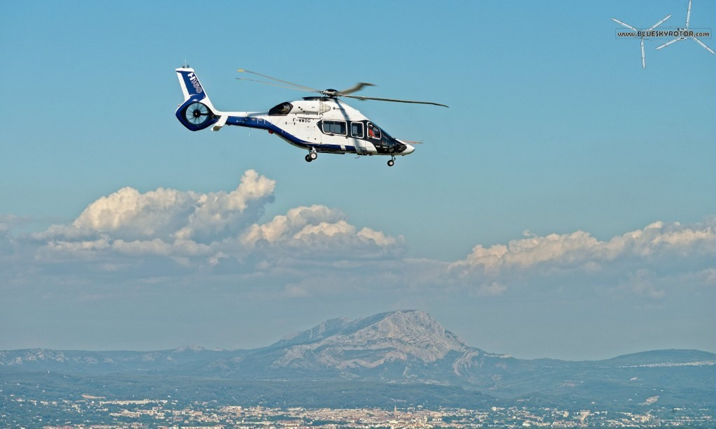 H160 PT1 in front of Aix-en-Provence and the Sainte Victoire mountain, copyright  T. Rostang for Airbus Helicopters