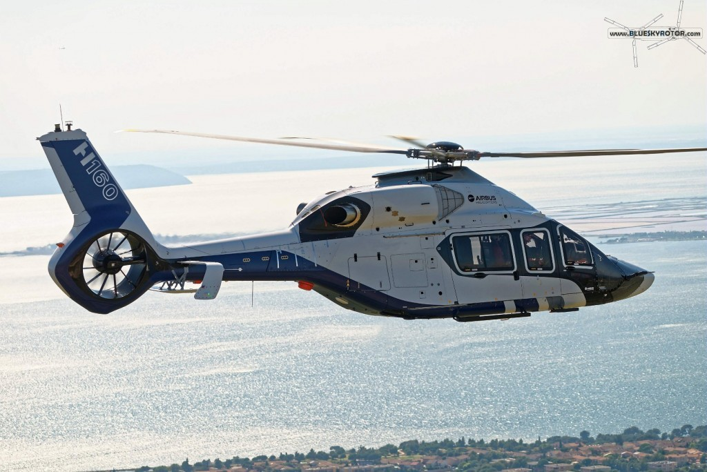 H160 PT1 in forward flight, copyright T. Rostang for Airbus Helicopters, 2015