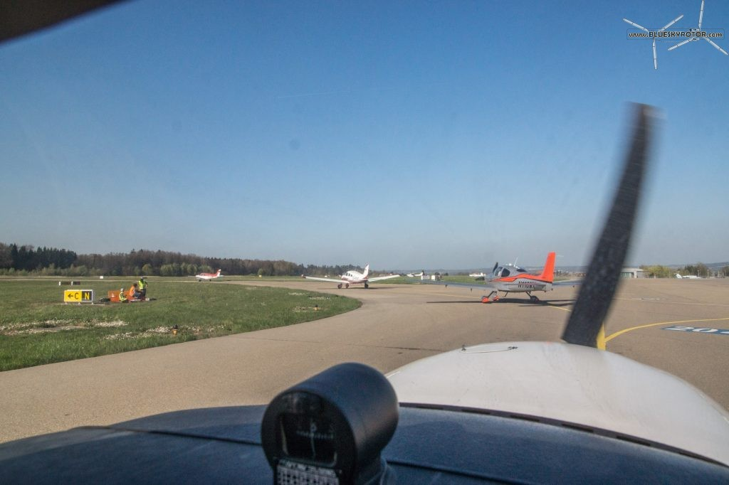 Waiting in queue to leave EDNY Friedrichshafen airport