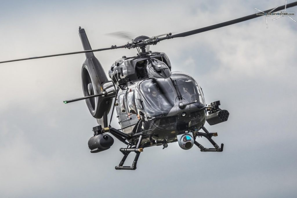 H145M with machine gun and rocket launcher